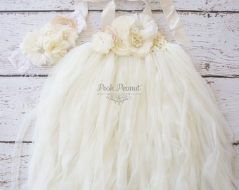 ivory tutu dress- flower girl dress- ivory flower girl dress- Rustic flower girl dress- flower girl dresses- ivory girls dress- cream dress