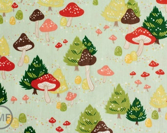 North Pole Mushroom in Mint, Alexander Henry Christmas Time, 100% Cotton, 7937A