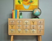 Mid-Century Wooden Library Card Catalog