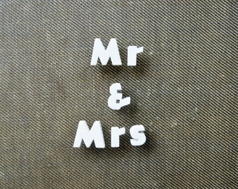 Mr and Mrs - Vintage Ceramic Push Pins
