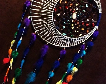 Dream Catcher- 8 inch - Moon Motions Signature Silver Ringed Dream Catcher-RAINBOW MOON with Moonstone Cabachon- Made to Order