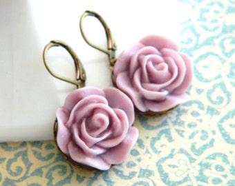 Lavender Earrings, Purple Earrings, Lilac Rose Flowers, Rose Earrings, Floral Earrings, Spring Earrings, Shabby Chic, Flower Earrings