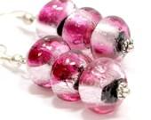 Fushia and Silver Glass Earrings. Dark Purple Black and Silver Details Fancy Silver Bead Earrings. Silver Foil Highlights. Dichroic Glass