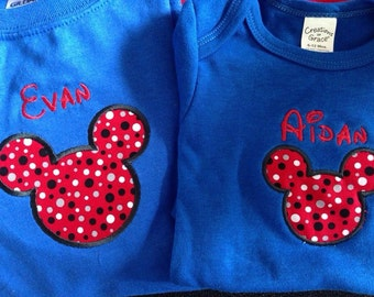 Mouse embroidered appliquéd tee perfect for Disney vacation