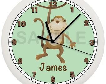 Personalized Monkey Nursery Wall Clock Green Background
