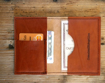 LEATHER MENS WALLET - handmade leather wallet - credit card holder - slim leather wallet - personalized groomsman gift