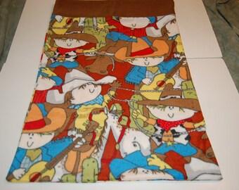 Handmade Standard Size Pillow Pillowcase--Cowboy Kids Fleece