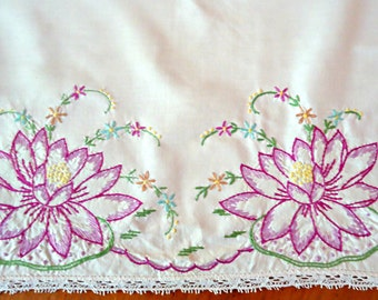 Embroidered Table Runner Lotus Table Topper  Vintage Linens  B139