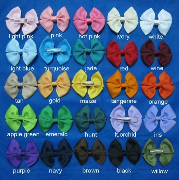 Set of 25 pieces 3 inch  girls pinwheel hair bows, hairbows, hairbow, hair bows for baby girls, hair bows set, 25 colors to choose