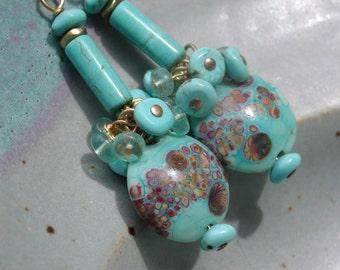Lampwork Beads Dangle Earrings GF Gold-filled Earwires Aqua Marine Turquoise Art Glass Aqua Blue