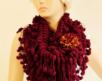 Crochet mulberry  scarf with removable flower pin in bordeux ,long crochet scarf