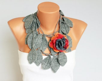 leave and flower  crochet flower jewelry scar, crochet necklace/ with  removable flower brooch ,grey