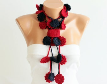 crochet lariat flower scarf necklace scarf red navy blue