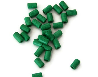 Green Ceramic Tubes, Green Medium Ceramic Beads, Green Greek Ceramic Beads, Green Barrel Beads 11x6 mm  21pcs C 10 092