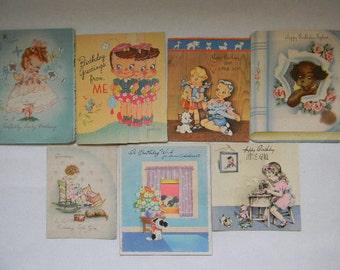 Birthday Cards, (7) Vintage Children's Birthday Cards