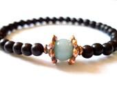 Ebony Mala Bracelet, Black Mala Beads, Aventurine, Copper Wrist Mala
