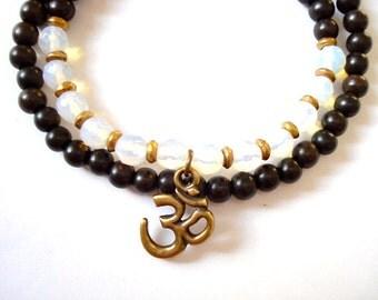 Double Wrap Om Bracelet, Wooden Mala Beads, Moonstone, Brass Om Yoga Bracelet