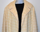 Vintage Butter Cream Mohair off white Clutch Coat circa 60s