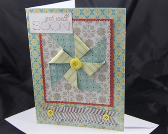 Pinwheel Get Well Soon handmade card