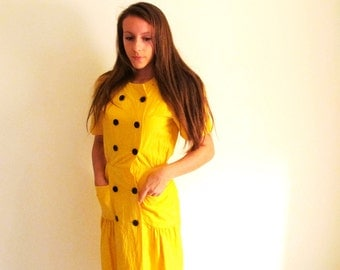 Vintage Mustard Yellow Dress, Cotton Frock, Double Breasted Dress
