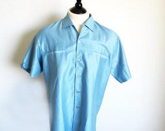 Vintage 60s Mens Shirt, Size Large Short Sleeve Blue Shirt