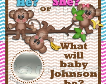 Gender Reveal scratch off cards Cute Monkey Baby Pregnancy announcement cards gender announcement cards Baby boy Baby girl 12 Precut Printed