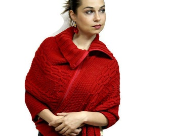 Made to Order: Elegant Hand Knit Red Poncho ONTARIO with zipper, Handknit Poncho, Cabled Poncho, Zipped Cabled Poncho, women fashion spring