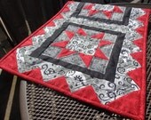 Modern Geometric Quilted Table Runner, Red Black Table Runner, Modern Table Runner