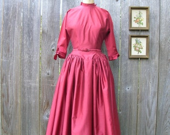 Vintage 50's RUSTY RED SPICE Gay Gibson Dress