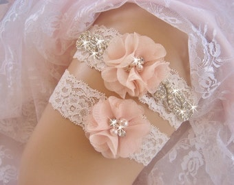 Blush Wedding Garter /  Rhinestone Garter / Crystal Garter / Toss Garter / Wedding Garter set / Garter Belt / Garder
