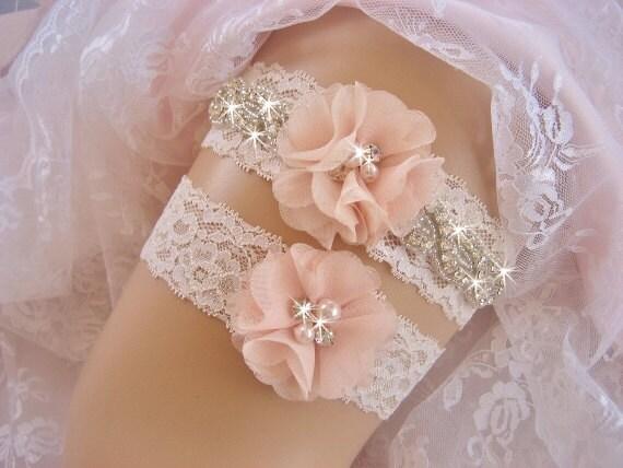 blush bridal garter