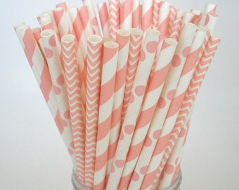 Pastel Pink Paper Straws  Stripes, Dots & Chevron Paper Drinking Straws Wedding, Cake Pop Sticks Retro Vintage Party Straws Princess Cowgirl