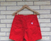 1990s Guess Shorts High Waist Red Logo Georges Marciano Womens Vintage Medium 29