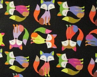 Fox Foxy Foxes Black Cotton Fabric Fat Quarter or Custom Listing