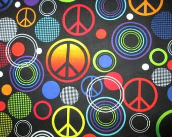 Retro Peace Small Symbols Circles Hot Colors Black Cotton Fabric Fat Quarter or Custom Listing