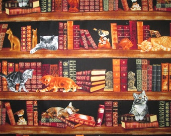Cats Book Shelves Cotton Fabric Fat Quarter Or Custom Listing
