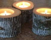 Set of 3 Real Wood Tealight Candle Holders for Home and Rustic Farmhouse Natural Chic  Wedding Decor Guest Tables