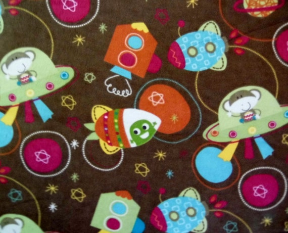 Space monkey flannel cotton fabric by the yard for Space flannel fabric