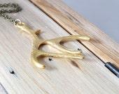 Gold Antler Necklace. Long Boho Necklace. Bronze Long Chain. Gold Antler Elk. Deer Antler Jewelry. Long Elk Antler Necklace