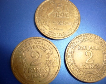 Vintage French Coin, Lot of 3 French Coins, Coins of France,  Coins (2) 2 Francs and (1) 50 Francs from 1920's Thru 50's