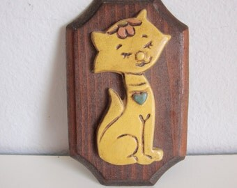 Vintage Wood Wall Hanging, 70s Cat, Wood  Wall Hanging, Wall Hanging, Wall Plaque Child Room Deco