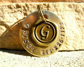 The Gatsby (#051) - Pet Tag Unique Handstamped Wax Seal Brass Vintage Pet ID Dog