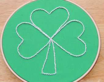 Green Shamrock Embellished Fabric Hoop Art