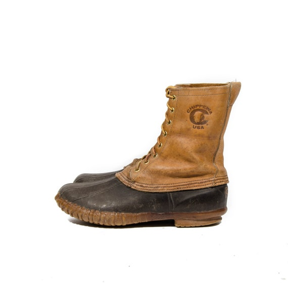 vintage chippewa lace up hunting boots aka duck boots for a