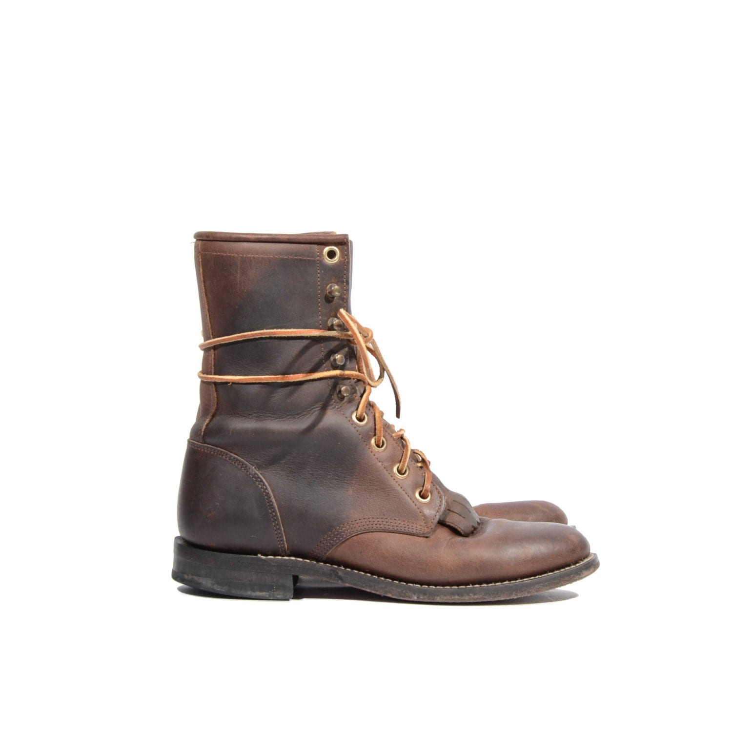 justin lace up boots roper all leather western lacers