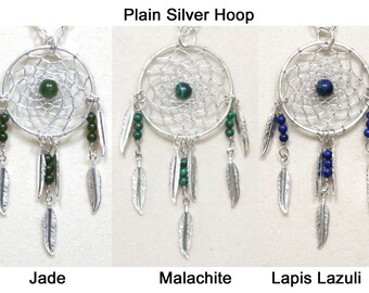 Dreamcatcher Necklace Jade, Malachite, Lapis Lazuli & Silver Dream Catcher with Feathers