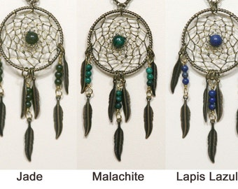 Dreamcatcher Necklace Jade, Malachite, Lapis Lazuli & Antiqued Brass Dream Catcher with Feathers