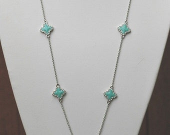 Quatrefoil Necklace, Silver and Turquoise enamel Four Leaf Clover Flower Necklace, Turquoise and silver necklace, Gift for her, Everyday use