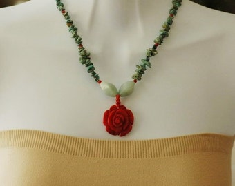 Dangle Necklace, Turquoise and Coral Rose Necklace, Flower Necklace, Gift for her, Green and Red Necklace, Summer Necklace, beaded necklace