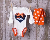SALE!! Adorable Denver Bronco Bodysuit with leg ruffles and matching leg warmers  Any Size newborn to 24 months bodysuit